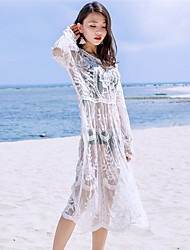 Women's Beach Holiday Casual/Daily Sexy Vintage Simple Loose T Shirt Dress,Solid Embroidered Round Neck Midi Long Sleeve Cotton Rayon Lace
