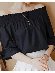 Для женщин Повседневные Блуза Без бретелей,Секси Однотонный Рукав ½,Хлопок