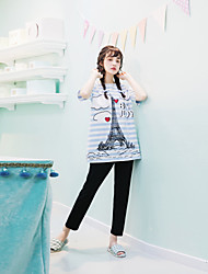 Women's Pajamas Suit Simple Tower Striped Pattern Home Soft Casual Sleepwear
