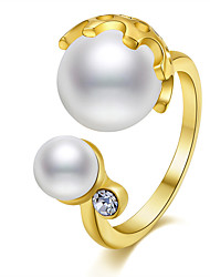 Ring Statement Rings Plastic Imitation Pearl Basic Unique Euramerican Fashion Gold Plated Luxury Simple British Classic Copper Jewelry For Women
