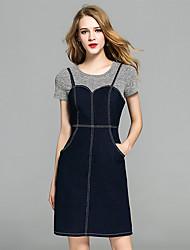YIYEXINXIANGWomen's Going out Casual/Daily Club Cute Summer T-shirt Dress SuitsSolid Round Neck Short Sleeve Denim Micro-elastic