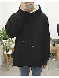 Men's Petite Casual/Daily Simple Hoodie Solid Fur Trim Round Neck Fleece Lining Micro-elastic Cotton