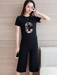 Mujer Verano T-Shirt Pantalón Trajes,Escote Redondo Manga Corta