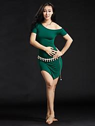 Dança do Ventre Roupa Mulheres Treino Modal Lantejoulas 3 Peças Manga Curta Caído Vestido Cinto Calções