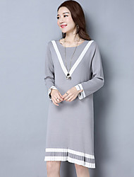 Women's Casual/Daily Simple Sweater Dress,Striped V Neck Above Knee Long Sleeve Cotton Spring Mid Rise Micro-elastic Medium