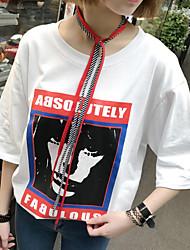 Damen Druck Einfach Sonstiges T-shirt,Rundhalsausschnitt 3/4 Ärmel Andere