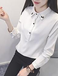Damen Solide Einfach Ausgehen T-shirt,Hemdkragen Langarm Baumwolle