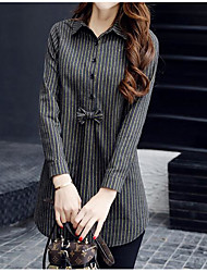 Women's Casual Simple Summer Shirt,Striped Stand Long Sleeve Cotton