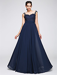 TS Couture Prom Formal Evening Dress - See Through A-line Jewel Floor-length Jersey with Appliques