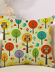 1 Pcs Simple Tree Of Life With Owl Pattern Pillow Cover Creative Pillow Case
