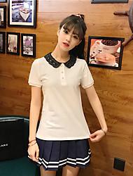 Damen Solide Einfach Normal T-shirt,Rundhalsausschnitt Halbe Ärmel Baumwolle