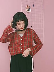 Damen Schachbrett Niedlich Ausgehen T-shirt,V-Ausschnitt Langarm Baumwolle