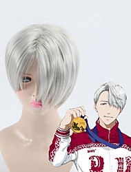 High Quality Gray Short Hair Yuri on Ice Cosplay Wig Victor Nikiforov Costume Play Woman Adult Wigs Halloween Anime Game Hair