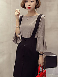 Women's Daily Simple Spring Summer T-shirt Dress Suits,Solid Round Neck Long Sleeve Micro-elastic