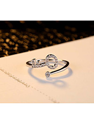 Lady Simple Cute Platinum Zircon Ring For Wedding Party Birthday Daily