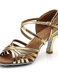Maßfertigung Damen Latin Kunstleder Sneakers Im Freien Band Blockabsatz Gold Silber 5 - 6,8 cm
