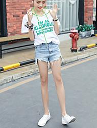 Tee-shirt Femme,Rayé Sortie simple Manches Courtes Col Arrondi Coton