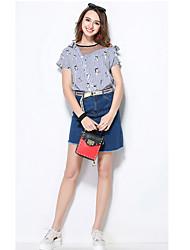 Для женщин Рубашка V-образный вырез,Простое Полоски С короткими рукавами,Акрил
