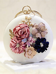 Women Shoulder Bag PU All Seasons Event/Party Casual Date Circle Flower Magnetic Pale Pink White