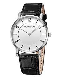 Homens Relógio de Moda Quartzo Impermeável Três Fusos Horários Couro Banda Pendente Preta Branco