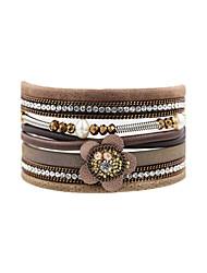 Fashion Women PU Flower  Rhinestone  Pearl  Leather Crystal Wrap  Bracelet