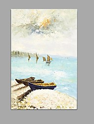 Hand-Painted Abstract Seascape Sandy beach Oil Painting Home Office Decoration With Stretched Frame Ready To Hang