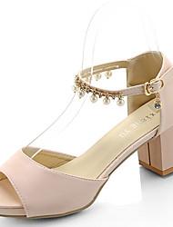 Mujer Sandalias PU Verano Vestido Perla Hebilla Talón de bloque Blanco Beige Rosa 5 - 7 cms