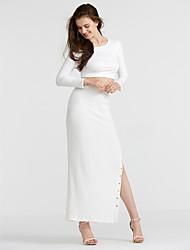 Women's Going out / Club Simple / Street chic Spring / Fall T-shirt Skirt Suits,Solid Round Neck Long Sleeve White Polyester Medium