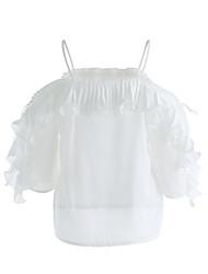 Trapèze Robe Femme Quotidien Mignon,Couleur Pleine A Bretelles Asymétrique Sans Manches Taffetas en Polyester Printemps Eté Taille Normale