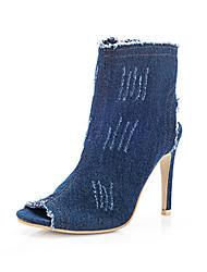 Women's Heels Comfort Denim Spring Summer Fall Office & Career Dress Stiletto Heel Light Blue Blue Dark Blue 4in-4 3/4in