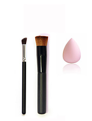 Black Wood Woncave Head Makeup Brush * 1 &Small Silver Black Inclined Head Eye Brush * 1 &Small Non-latex Droplet Powder Puff