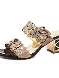 Women's Sandals Comfort PU Summer Outdoor Walking Comfort Sparkling Glitter Block Heel Black Blue Royal Blue Under 1in