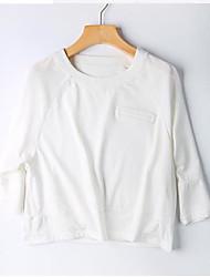 Damen Solide Einfach Lässig/Alltäglich T-shirt,Rundhalsausschnitt Sommer ¾-Arm Baumwolle