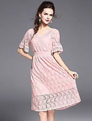 YHSPWomen's Going out Beach Holiday Simple Cute Sophisticated A Line Sheath Lace DressSolid Embroidered V Neck Midi Short Sleeve Polyester