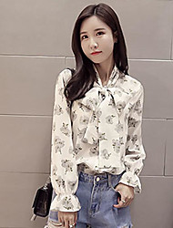 Women's Casual/Daily Simple Spring Summer Blouse,Floral V-neck Long Sleeve Chiffon Thin