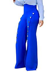 Da donna Vita alta Semplice Moda città Media elasticità A zampa Pantaloni,A zampa Tinta unita Semplice Tinta unita Classico