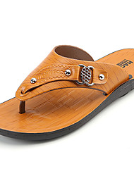 Men's Sandals PU Spring Summer Low Heel Yellow Dark Brown Under 1in