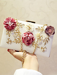Women Evening Bag PU All Seasons Event/Party Party & Evening Date Baguette Flower Magnetic Ruby Fuchsia Apricot Peachblow Blushing Pink