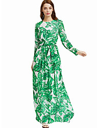 Women's Going out Casual/Daily Work Sexy Simple Sheath Dress,Floral Round Neck Maxi Long Sleeve Polyester Spandex All Seasons High Rise