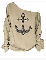 Damen Einfarbig Einfach T-shirt,Bateau Langarm Baumwolle