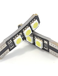 2W White Blue Red Yellow Glary bule DC12V High Bright Double Canbus No Error T10  6LED 5050SMD LED Width Lamp Reading Lamp  Side Marker Ligh 2PCS
