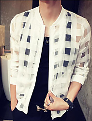 Men's Daily Modern/Comtemporary Summer Jacket,Plaid/Check Stand Long Sleeve Regular Polyester