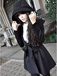 Women's Daily Simple Spring Trench Coat,Solid Hooded Long Sleeve Long Cotton