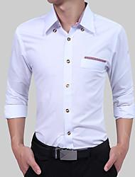 Для мужчин Для вечеринок День рождения Повседневные Офис На каждый день Все сезоны Рубашка Рубашечный воротник,Простое Богемный Шинуазери