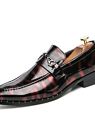 Men's Shoes Patent Leather Spring Summer Comfort Oxfords Walking Shoes For Wedding Party & Evening Office & Career Silver/Black Black/Red