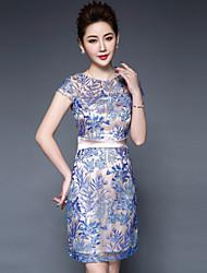 Gaine Robe Femme Grandes Tailles Chinoiserie,Fleur Col Arrondi Au dessus du genou Manches Courtes Polyester Printemps Eté Taille Normale