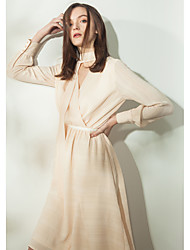 EVEN THOUGHWomen's Casual/Daily Skater DressStriped V Neck Knee-length Long Sleeve Polyester Summer High Rise Inelastic Thin