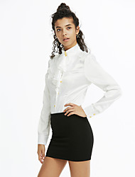 Women's Work Sexy Punk & Gothic All Seasons Shirt,Solid Stand Long Sleeve Rayon Polyester Thin