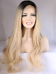 Mujer Pelucas sintéticas Encaje Frontal Medio Largo Ondulado Rubio platino Pelo Ombre Raíces oscuras Entradas Naturales Peluca natural