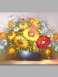 Pintada a mano Floral/Botánico Horizontal,Flor Retro Un Panel Lienzos Pintura al óleo pintada a colgar For Decoración hogareña